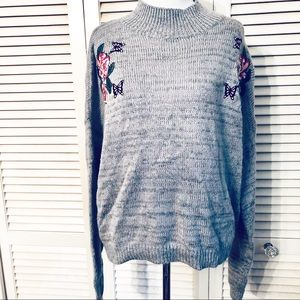 Cloud Chasers | Gray Floral Embroidered Mock Neck